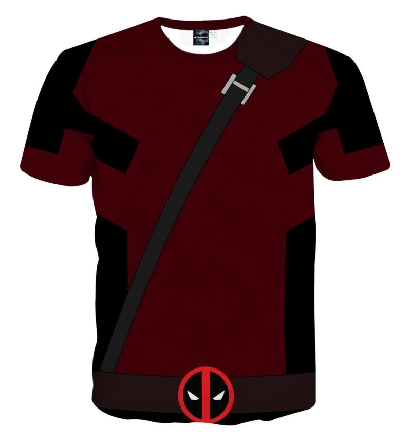Marvel Immortal Rogue Deadpool Logo Red Suit Cosplay T-Shirt