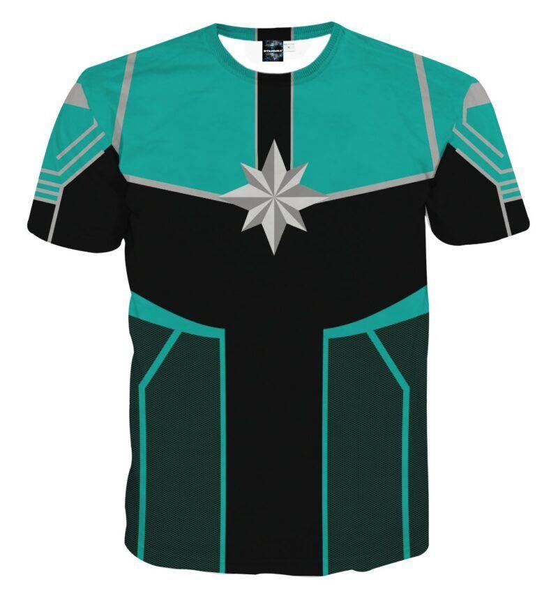Marvel Mightiest Avenger Captain Marvel Green Cosplay T-Shirt