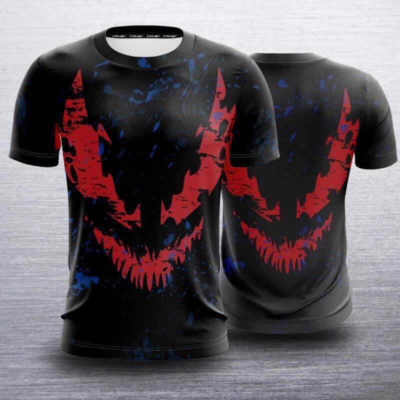 Marvel Scary Venom Symbiote Red Shadow Face Black T-Shirt