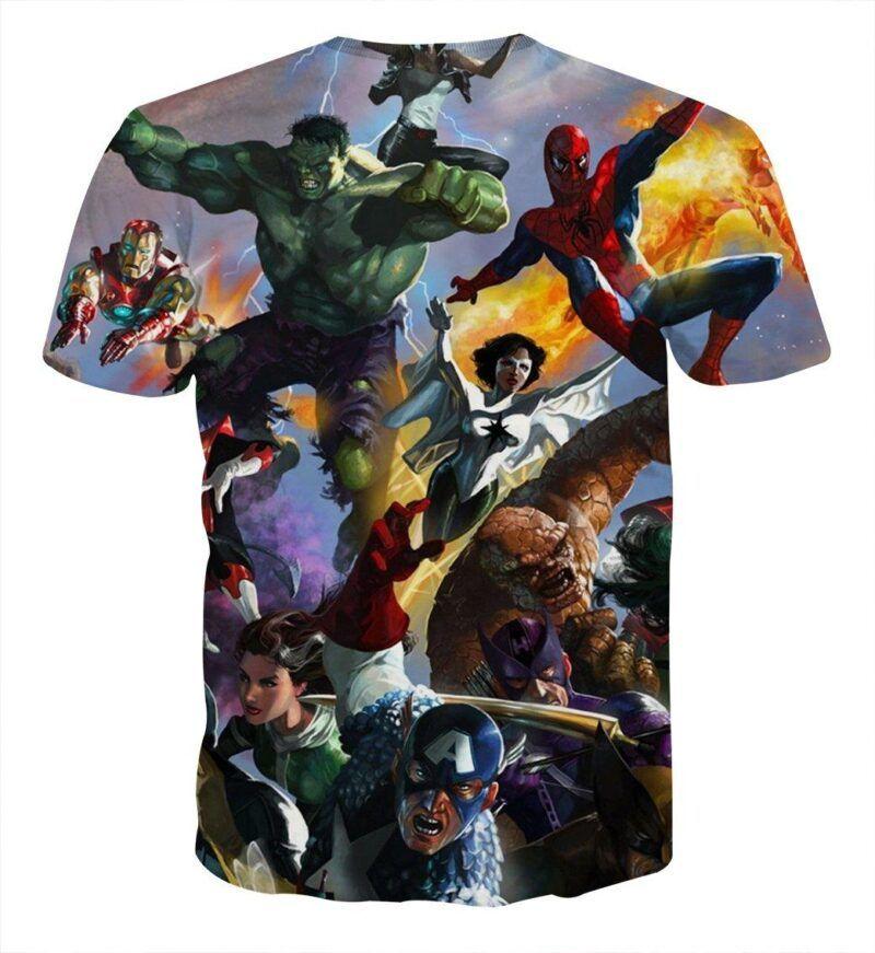 Marvel Superheroes In Battle Unique Style 3D Print T-Shirt