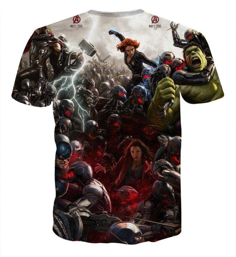 Marvel The Avengers Fighting Ultron Full Print 3D T-Shirt