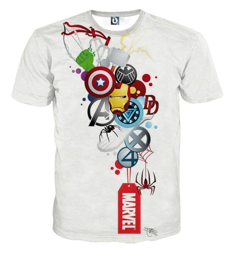 Marvel The Avengers Iron Man Symbols Dope Style T-Shirt