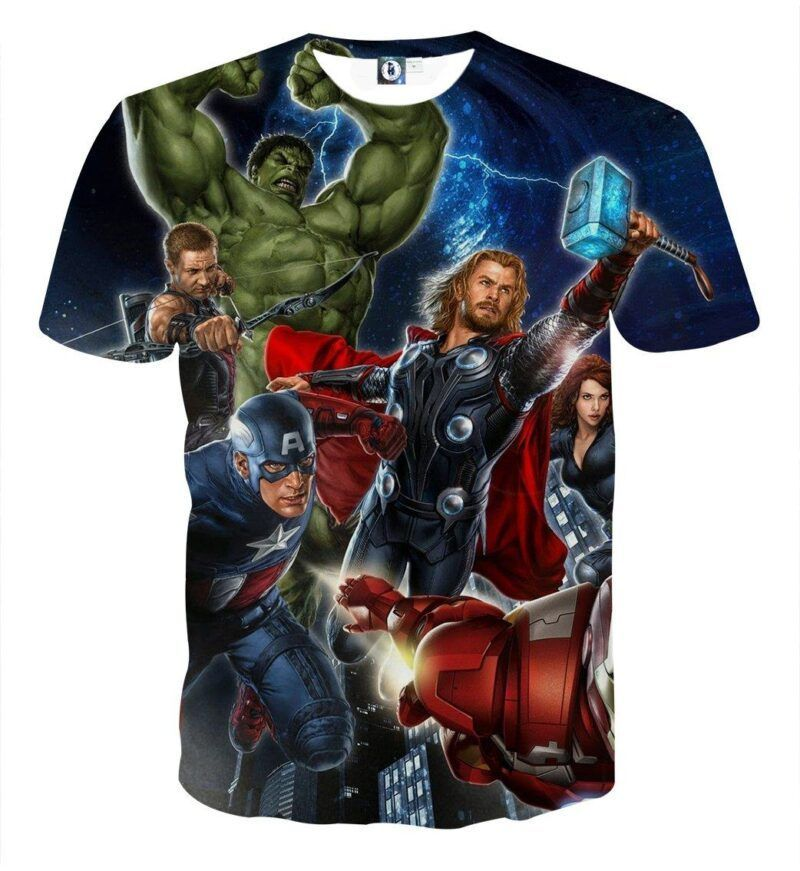 Marvel The Avengers Main Characters Flying Swag 3D T-Shirt