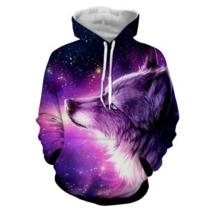 Mystical Lone Wolf Galactic Longing Canine Purple Hoodie