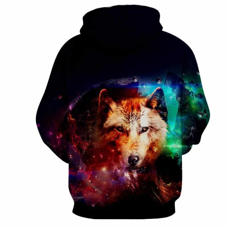 Mystical Wolf Water Colorful Droplets Bewitching Hoodie