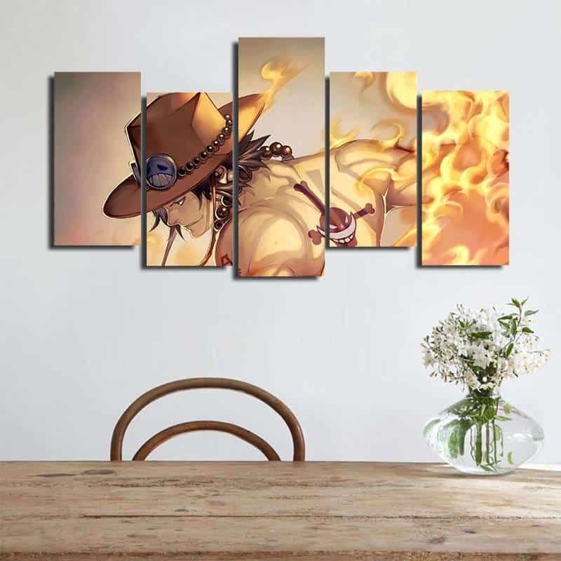 One Piece Ace Burning Flame Orange Asymmetrical 5pcs Canvas