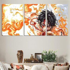 One Piece Bloody Ace Fire Fist Burning Body 3pcs Wall Art