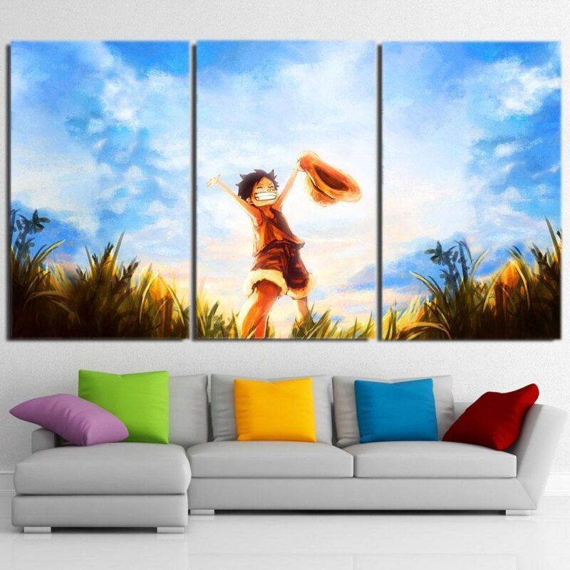 One Piece Happy Young Monkey D Luffy Sunset 3pcs Canvas Print