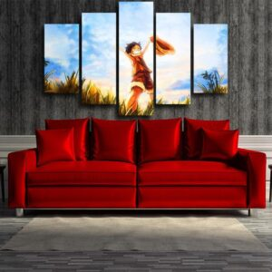 One Piece Happy Young Monkey D Luffy Sunset 5pcs Canvas Print