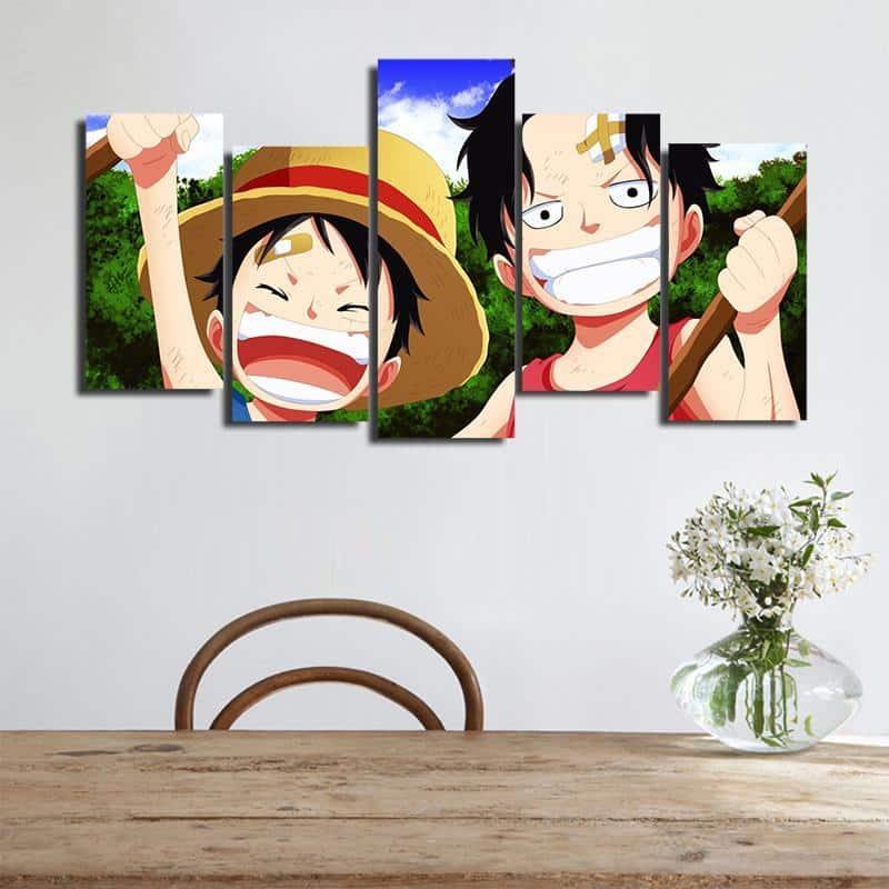One Piece Kid Luffy Ace Big Smile Asymmetrical 5pcs Wall Art