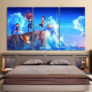 One Piece Kid Luffy Ace Sabo Happy Playing Blue 3pcs Wall Art