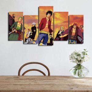 One Piece Luffy Zoro Villains Crew Asymmetrical 5pcs Canvas