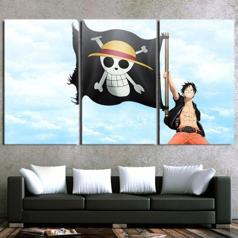One Piece Monkey D Luffy Straw Hat Pirate Logo 3pcs Wall Art