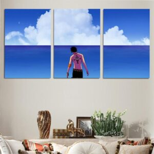 One Piece Portgas D Ace Pretty Calm Blue Ocean 3pcs Wall Art