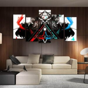 One Piece Red And Blue Roronoa Zoro Asymmetrical 5pcs Canvas