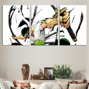 One Piece Roronoa Zoro Santoryu Swords Style 3pcs Wall Art