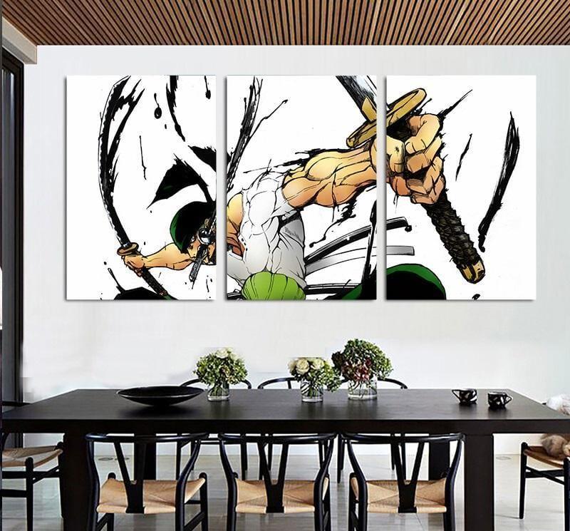 One Piece Roronoa Zoro Santoryu Swords Style 3pcs Wall Art