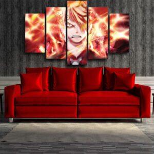 One Piece Sanji Fire Leg Dope Eye 5pc Canvas Print Decor