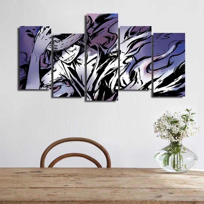 One Piece Straw Hat Luffy Cool Smoke Effects 5pcs Wall Art