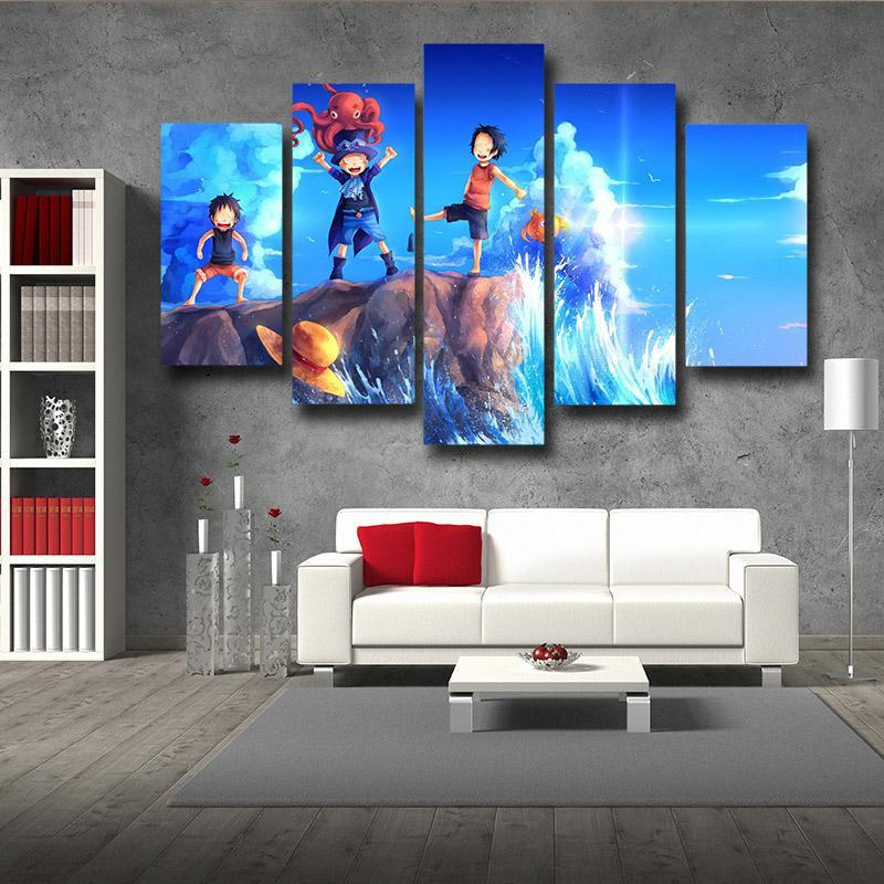One Piece Young Luffy Ace Sabo Cute Childhood 5pc Wall Art