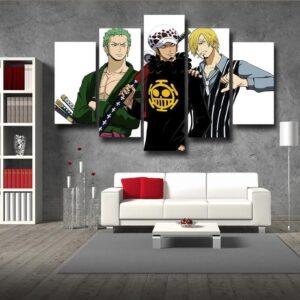 One Piece Zoro Law Sanji Straw Hat Pirate 5pcs Canvas Print