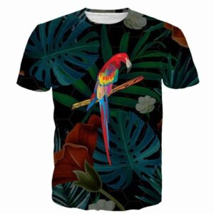 Parrot Floral Jungle Colorful Nature Leaf Green Summer Geometry  T-shirt - Woof Apparel