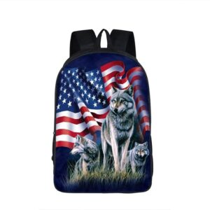Proud Wolfpack Canidae American Flag Charming Backpack
