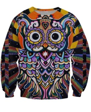 Psychedelic Radiant Owl 3D Religion Indian Style 3D Sweatshirt - Woof Apparel