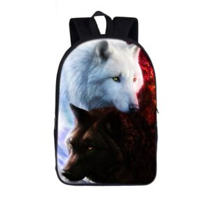 Rare Black and White Wolf Canidae Family Amazing Backpack