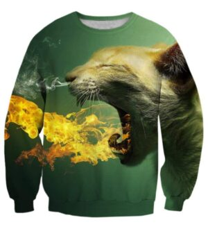 Scary Cat Fire Smoke Breath 3D Green Special Crewneck Sweatshirt - Woof Apparel