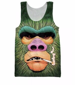 Smoking Funny Gorilla Monkey Gym 3D Swag Cool Tank Top - Woof Apparel
