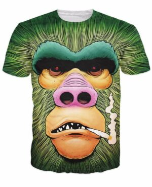 Smoking Funny Green Gorilla Monkey Gym 3D Swag Cool T-Shirt - Woof Apparel