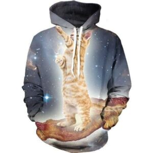 Striped Brown Cat Surfing Bacon Galaxy Space Cool Sporty Hoodie - Woof Apparel