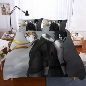 Stunning Naruto And Sasuke Melancholic Gray Bedding Set