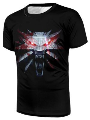 The Witcher 3 Bloody Wolf With Red Eyes Unique Black T-Shirt