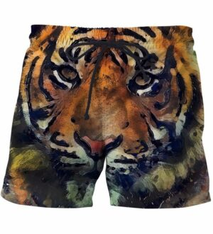 Tiger Face Oil Painting Art Incredible Summer Full Print 3D Shorts - Woof Apparel