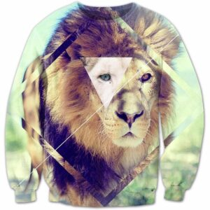 Triangle Square Geometric Shapes Royal King Wild Lion 3D Sweatshirt - Woof Apparel