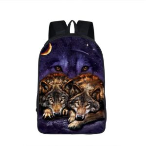 Two Wolves Resting Under the Night Sky Purple Backpack