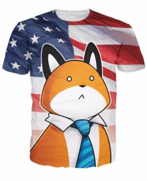 USA American Flag Funny Fashionable Gentle Cartoon Fox Blue Tie T-Shirt - Woof Apparel