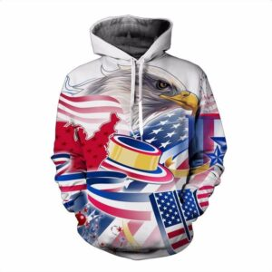 USA American Flag Hawk Eagle Cartoon Crisp Colorful Full Print 3D Hoodie - Woof Apparel
