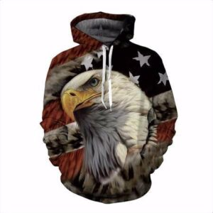 USA American Flag Hawk Eagle Classic Trendy 3D Full Print Hoodie - Woof Apparel