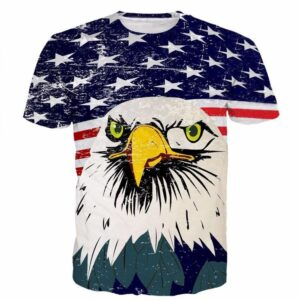 USA American Flag Hawk Eagle Patriot Cartoon Sketch Full Print T-shirt - Woof Apparel