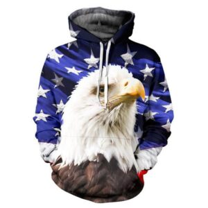 USA American Flag Hawl Eagle Blue Full Print 3D Hoodie - Woof Apparel