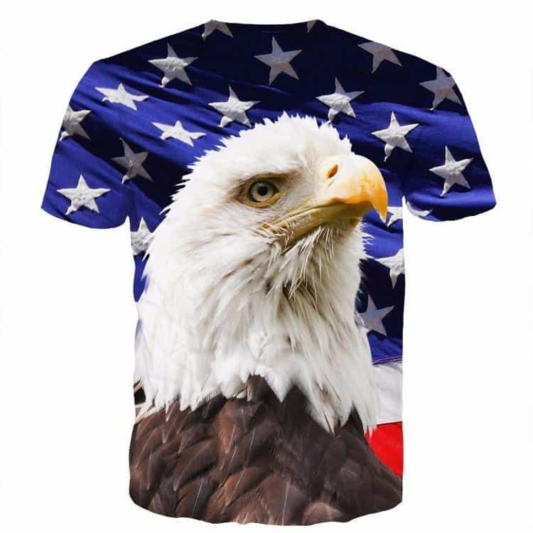 USA American Flag Hawk Eagle Blue Full Print 3D T-Shirt - Woof Apparel