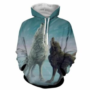 Untamed Wild Wolves Howling under the Snow Cute Blue Hoodie