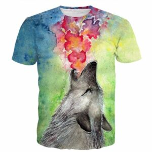 Vintage Oil Painting Tie Dye Art Lovely Wolf Autumn 3D T-shirt - Woof Apparel