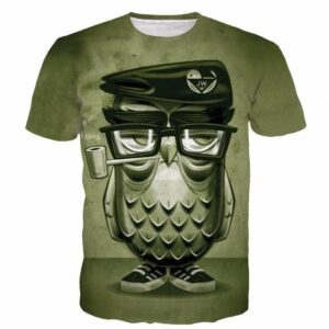 Vintage Smoking Owl Tatoo Mossy Green Full Print 3D T-shirt - Woof Apparel