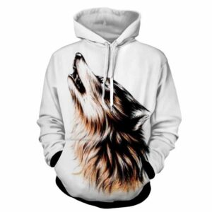 Virtuous Wolf Howling Closed Eyes Canine White Hoodie