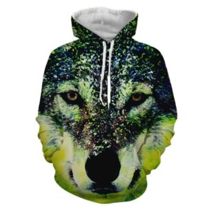 Wild Fierce Wolf Long Sleeves Green Pocket Hoodie
