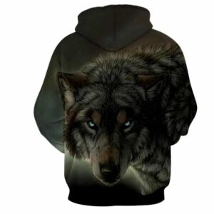 Wild Wolf Glaring Eyes Aggressive Night Hunter Hoodie